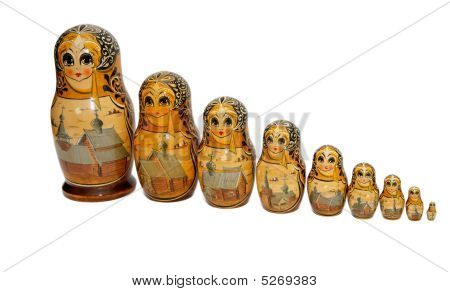 Russian Babushka Nesting Dolls Isolated