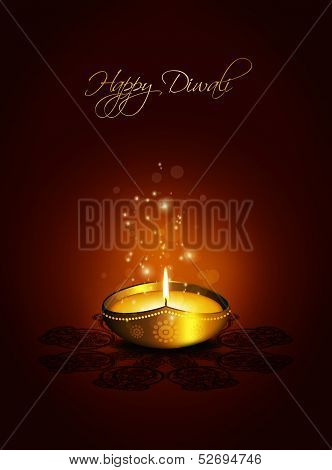 Oil Lamp With Plac For Diwali Greetings Over Dark Background