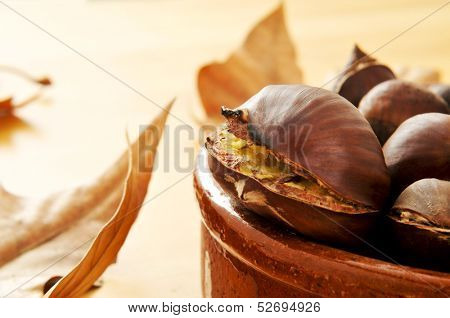 closeup of some roasted chestnuts in an earthenware bowl and autumn leaves in the background