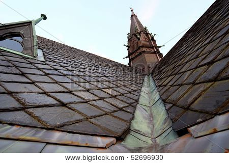 Church Roof With Water Gutter