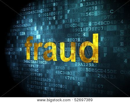 Protection concept: Fraud on digital background