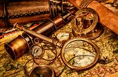 picture of nautical equipment  - Vintage magnifying glass - JPG