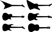 picture of stratocaster  - Six guitar silhouettes - JPG