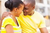 stock photo of intimate  - intimate young african couple in love - JPG