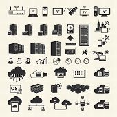 Wireless and Cloud Computing icons on texture background