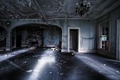 stock photo of eerie  - Abandoned interior of a parlor  - JPG