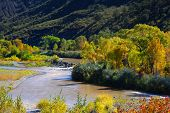 Scenic Gunnison river in autumn time