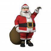 Photo of waving santa with christmas gifts.