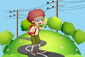 stock photo of post-teen  - Illustration of a young boy walking at the street with electric posts nearby - JPG