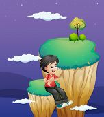 picture of landforms  - Illustration of a boy waiting for someone at the topmost part of a landform - JPG
