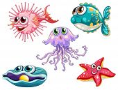 foto of underworld  - Illustration of the five sea creatures on a white background - JPG