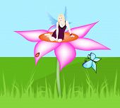 stock photo of thumbelina  - A beautiful fairy sitting on a flower - JPG