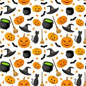 stock photo of witches cauldron  - Halloween seamless background with jack - JPG