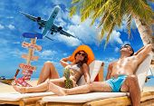Couple on the tropical beach Travel concept