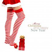 image of panty-hose  - Woman wearing santa little helper costume - JPG