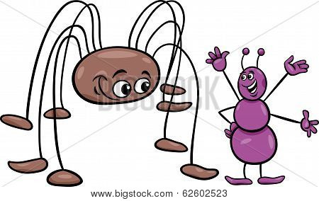 Ant And Opilion Cartoon Illustration