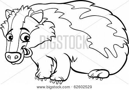 Badger Cartoon Coloring Page