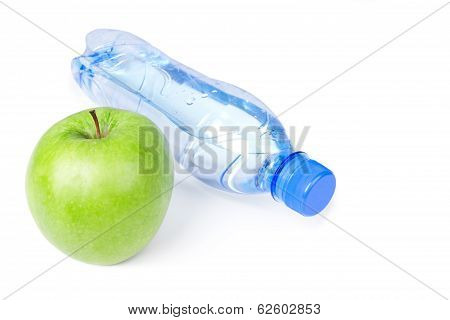 Bottle With Water And Green Apple