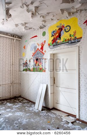 old leave room with russian comic