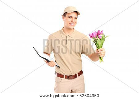 Delivery boy holding a clipboard and flowers isolated on white background