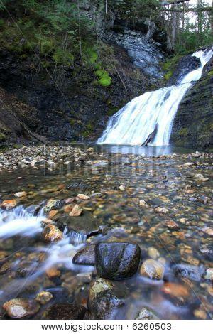 Low view of sweet creek falls.