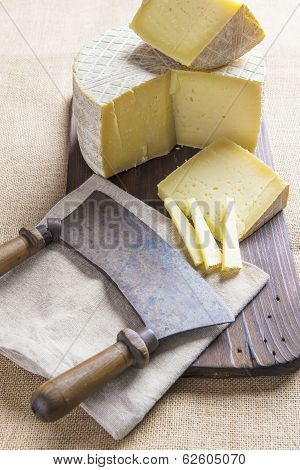 Handmade Sheep Cheese On The Cutting Board