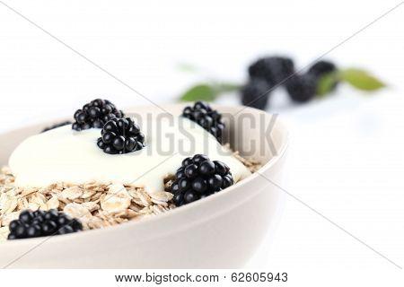 Oatmeal with yogurt and blackberries