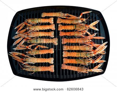 Scampi on a grill plate