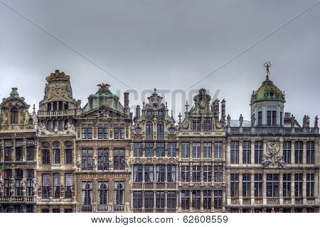 Guildhalls On Grand Place In Brussels, Belgium.