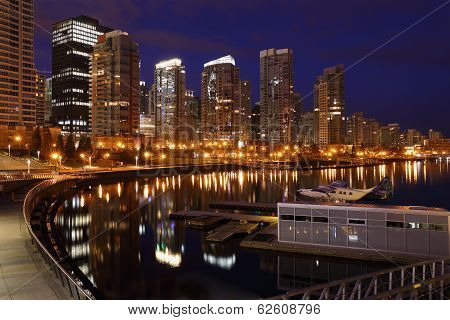 Coal Harbor Towers Night, Vancouver