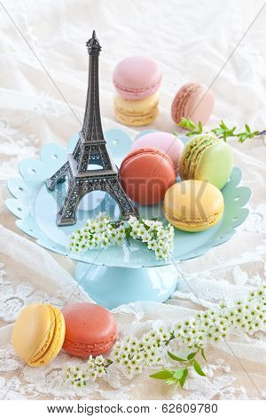 Colorful Macaroons On Blue Plate
