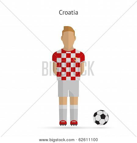 National football player. Croatia soccer team uniform.