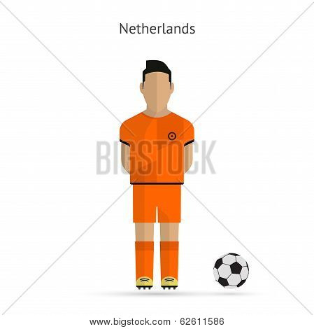 National football player. Netherlands soccer team uniform.
