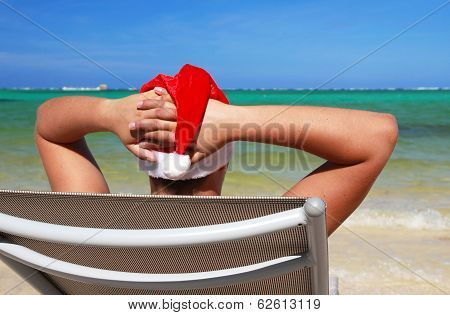 Santa Resting On Chaise Longue