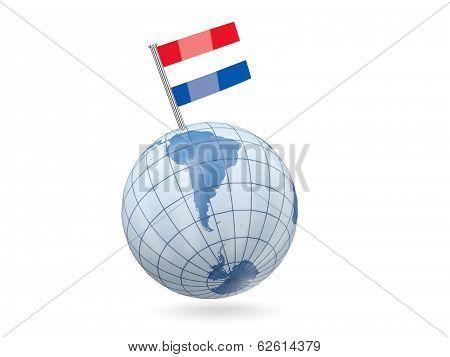 Globe With Flag Of Bonaire