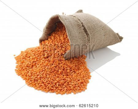 Lentils In A Textile Sack