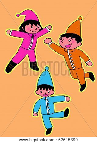 Cute small fairy in christmas costumes. Vector cartoon illustration.