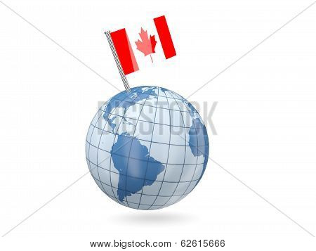Globe With Flag Of Canada
