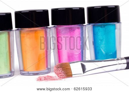 Make-up Brush And Tubes With Colour Pigment
