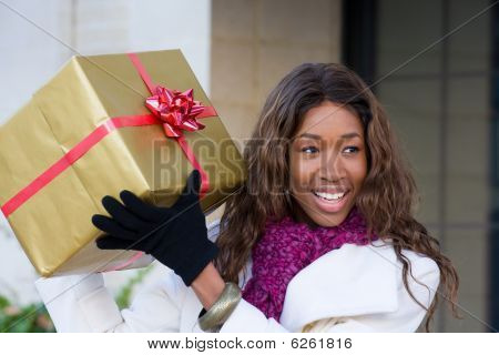 Happy Woman Christmas Shopping