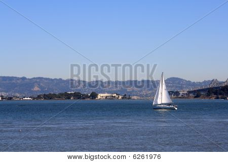 Sailboat On The Bay In San Francisco California
