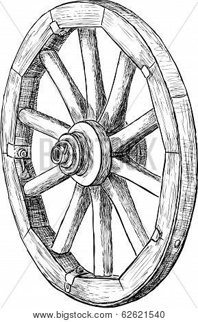 Vector drawing of an obsolete wooden wheel.