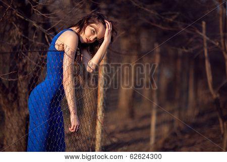 Beautiful Girl In Blue Evening Dress.
