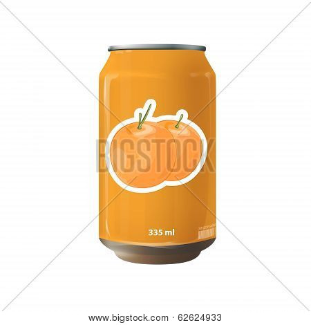 Orange Tin Of Fruit Juice. Vector Design