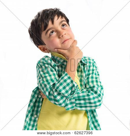Boy Thinking Over White Background