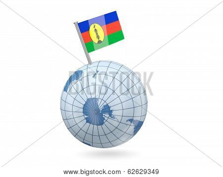 Globe With Flag Of New Caledonia