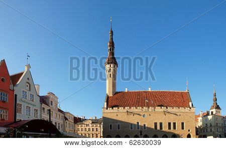 Evening Summer Scenery Of The Town Hall Square (raekoja Plats) In Tallinn, Estonia