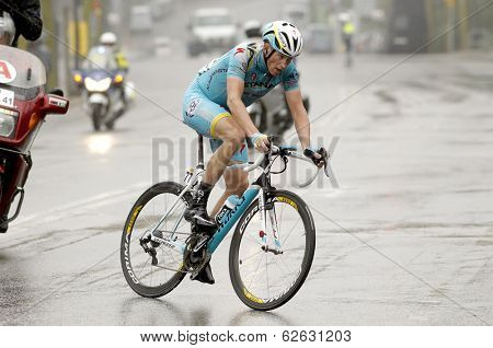 BARCELONA - MARCH, 30: Lieuwe Westra of ProTeam Astana rides during the Tour of Catalonia cycling race through the streets of Monjuich mountain in Barcelona on March 30, 2014