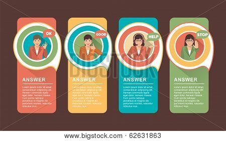 Vector faq labels with businesswoman