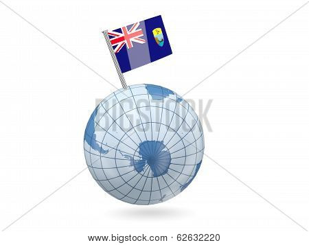 Globe With Flag Of Saint Helena